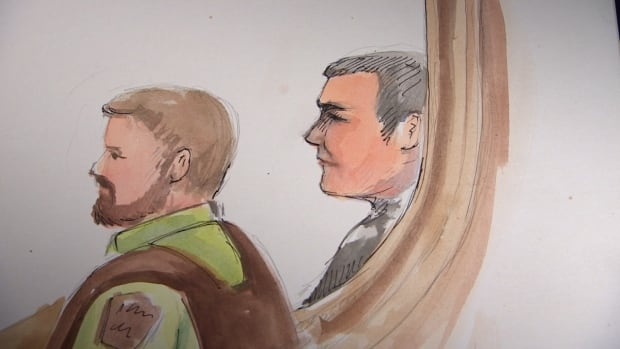 A courtroom sketch shows Raymond Cormier, right, facing the front of the courtroom while seated next to a sheriff.