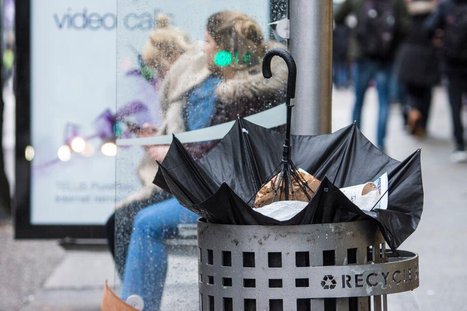 Umbrella Rain Trash Can Dumped Dumpster Garbage BC Storm Broken Umbrella Vancouver Raincouver