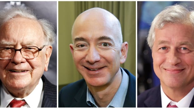 Berkshire Hathaway's Warren Buffett, Amazon founder Jeff Bezos and JP Morgan Chase chairman and CEO Jamie Dimon, left to right, are teaming up on an ambitious new employee health-care plan.