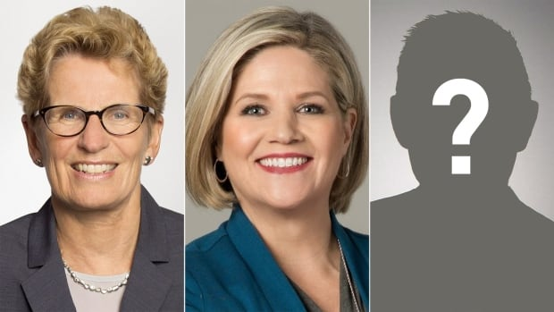 Liberal Leader Kathleen Wynne, left, and NDP Leader Andrea Horwath don't know who they will be facing in Ontario's June election now that Patrick Brown has resigned as PC leader.