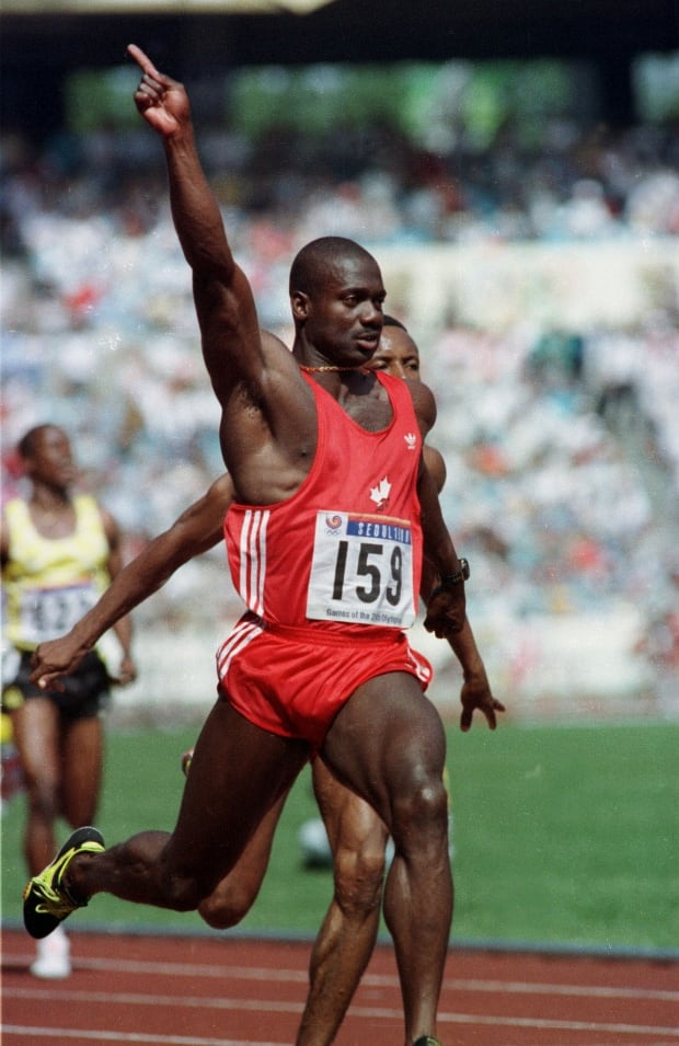FILE PHOTO OF BEN JOHNSON WINNING 100 METERS AT SEOUL OLYMPICS.