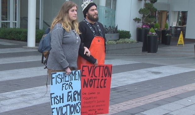 Fish Farm protesters Canada Place Vancouver 30 January 2018