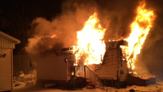 The mobile home caught fire around 6:30 p.m. Tuesday.