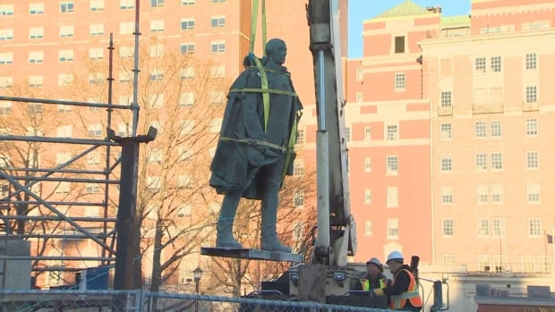 The statue of Edward Cornwallis was removed Wednesday afternoon.