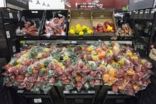 Plastic-wrapped vegetables