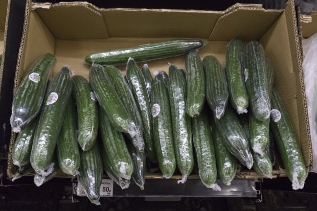 Plastic-wrapped cucumbers