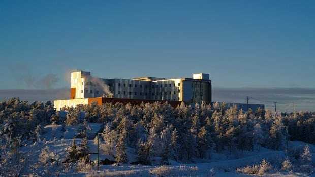 The Stanton Territorial Hospital under construction on Dec. 3, 2017, as seen from across Frame Lake. The N.W.T.'s finance minister says he expects construction to stay on schedule as Fairfax Financial takes on the new hospital's 30-year operations contract.