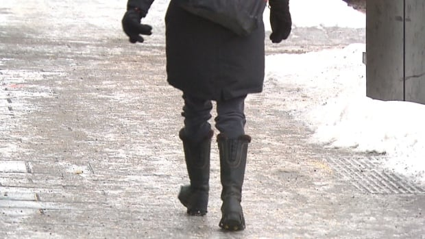 The best way to avoid slips and falls is to wear sensible boots with wide soles that can grip the surface, Dr. Brett Belchetz says.