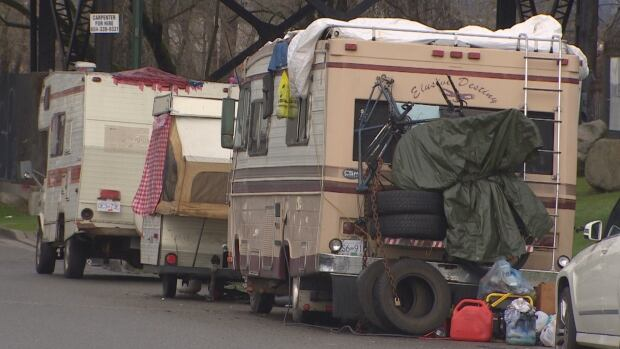Several vans and RVs on Glen Drive in Vancouver are creating garbage and safety problems, some local businesses say.