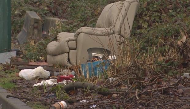 Glen Drive garbage due to van dwellers