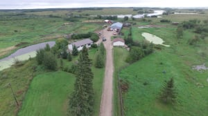 Aerial view of Stanley farm taken by RCMP