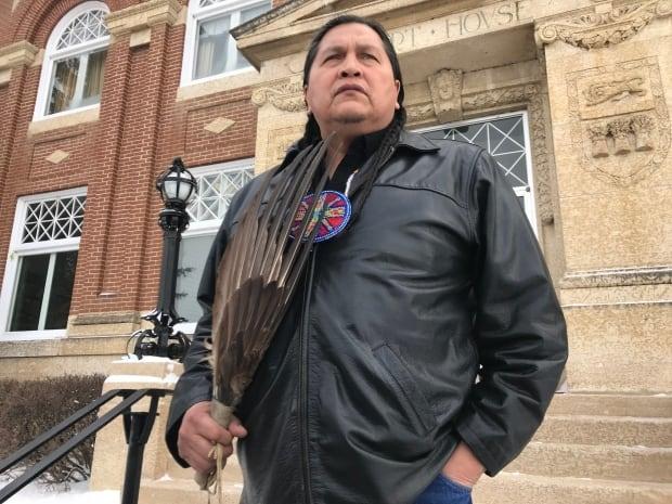 Alvin Baptiste, uncle of Colten Boushie, outside Battleford courthouse Feb. 5 2018
