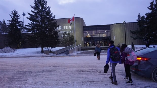 Students arrive at Carlton Comprehensive High School, which has a 60 per cent First Nations and Métis student population, in December.