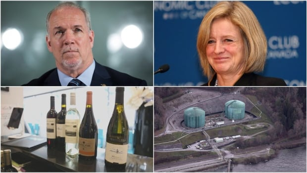 B.C. Premier John Horgan says he wants more research into the effects of expanding the Kinder Morgan Trans Mountain pipeline. Alberta Premier Rachel Notley says B.C. can keep its wine until the impasse is resolved.