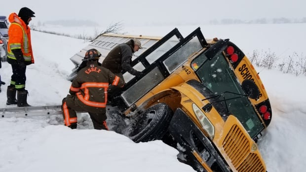 A bus slid into the ditch along the 14th Concession Road between Walker Side Road and Old Malden Road on Feb. 7. No one was injured.