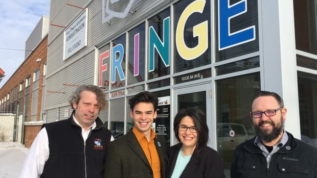 Murray Utas (left) and Adam Mitchell (right) are doing reconciliation work with the Fringe Theatre Festival alongside Hunter and Jacquelyn Cardinal from the Edmonton company Naheyawin.