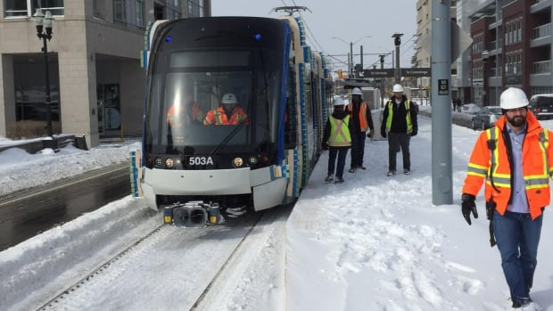 ION tweeted a photo of the light rail vehicle arriving at Allen Station in Waterloo.