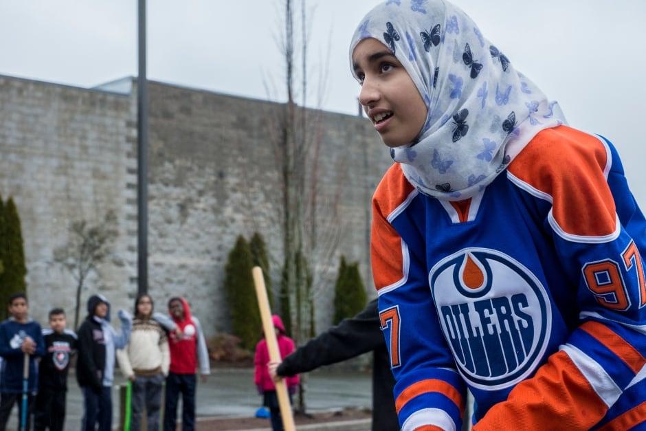 Grade 7 student Angela Mahmoud Surrey Muslim School Hockey Tournament
