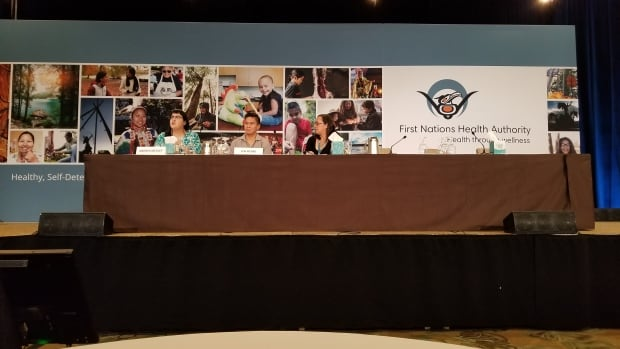 Andrea Medley and Len Pierre of the First Nations Health Authority talk about what harm reduction can look like through an Indigenous lens at the mental health and wellness conference in Vancouver on Feb. 7, 2018.