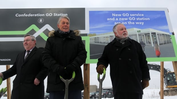 St. Catharines MPP Jim Bradley, Mayor Fred Eisenberger of Hamilton and MPP Ted McMeekin from Ancaster-Dundas-Flamborough-Westdale broke ground at the future Confederation GO station site Thursday. It was ceremonial since construction has already started, and the ground was too cold to actually break.