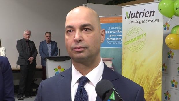 Nutrien president and CEO Chuck Magro attended a press conference on Thursday to announce the company's donation to Saskatchewan Food Banks.