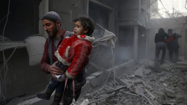 The monitoring group Syrian Observatory for Human Rights says the death toll  from Thursday's government airstrikes in eastern Ghouta has reached over 200, including 58 children.