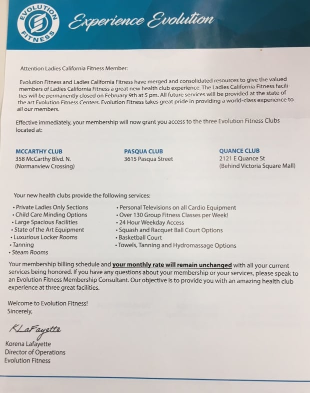 EVOLUTION FITNESS LETTER FEB 9 2018