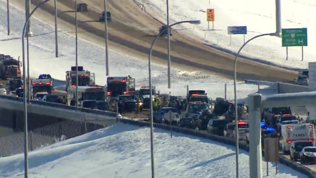 EMS transported nine people to hospital after a crash on Stoney Trail that involved around 40 cars.