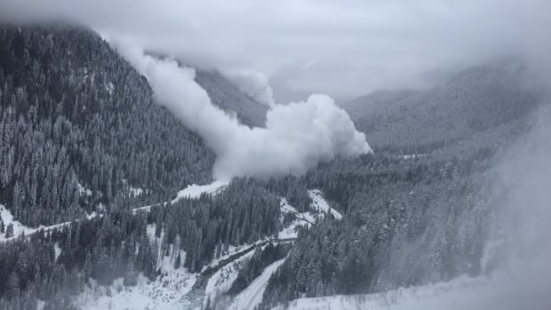 Snowy conditions in the Interior have lead to dangerous driving conditions ahead of B.C.'s Family Day weekend. Much of Highway 1 was closed Thursday for avalanche control, including a stretch near Glacier National Park, shown above.