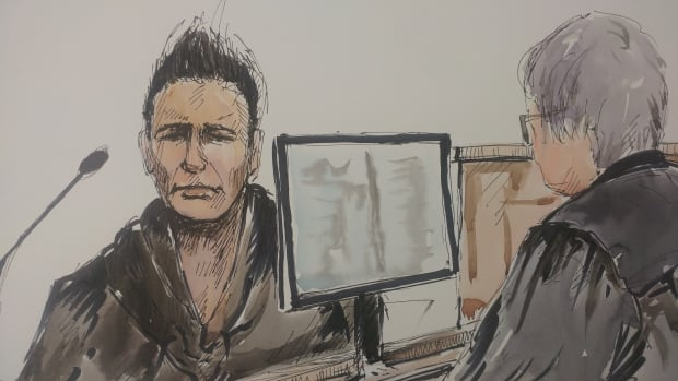 A courtroom sketch artist's rendering of Tyrell Morrison, 30, who testified he saw Raymond Cormier and Tina Fontaine arguing shortly before she disappeared in August 2014.