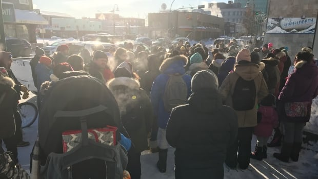 More than 50 people gathered in front of the Yellowknife post office Saturday to grieve and provide comfort to one another the day after Gerald Stanley was found not guilty of second-degree murder in the death of Colten Boushie.