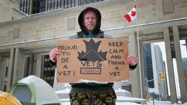 Trevor Sanderson was camping this week beneath the walkway connecting the East and West Memorial Buildings on Wellington Street in Ottawa, ahead of Thursday's protest for better services for veterans.
