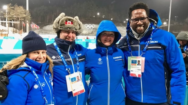 The CBC's Karin Larsen, second from right, with her CBC/Radio Canada colleagues at the Pyeongchang Olympics. From left: Jessica Rubinger, Michel Aspirot and Meeker Guerrier.