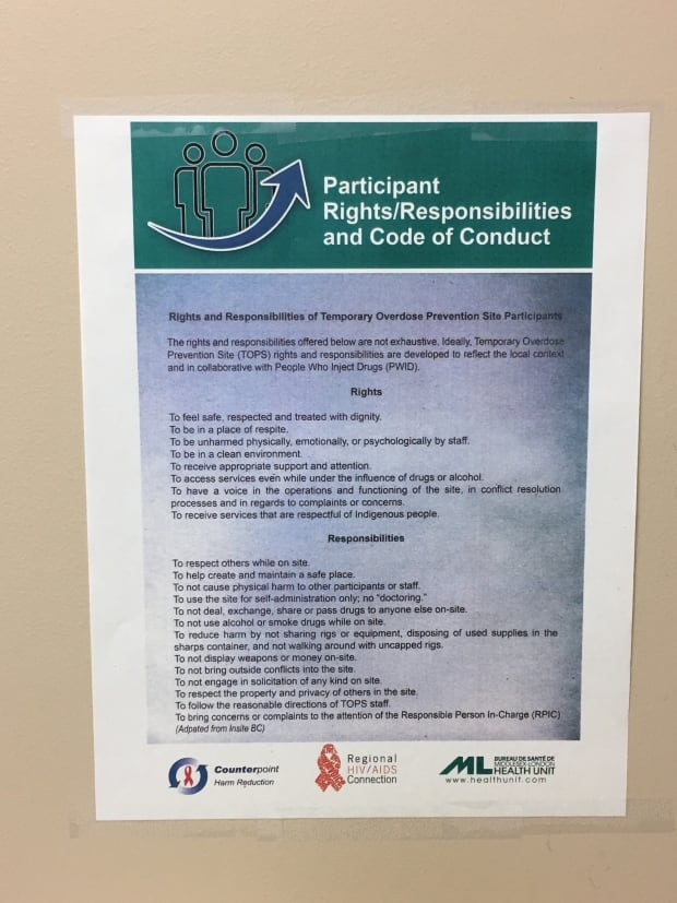 Code of conduct overdose prevention site