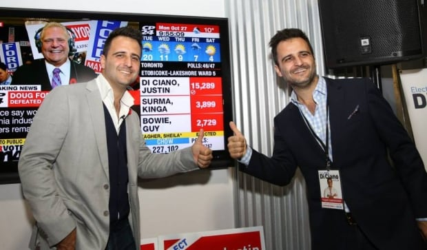 Justin Di Ciano and Julien Di Ciano at 2014 election night victory party