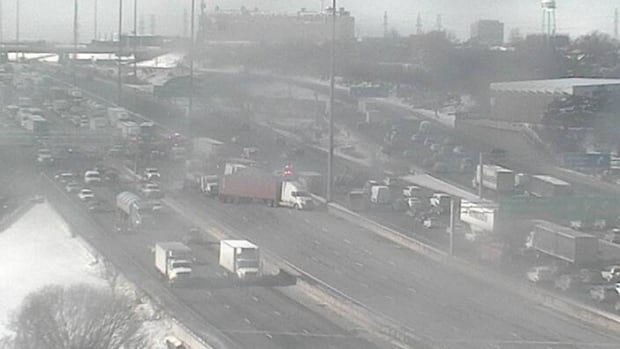 A multi-vehicle collision on Monday morning shut down eastbound express lanes on Highway 401 at Weston Road.