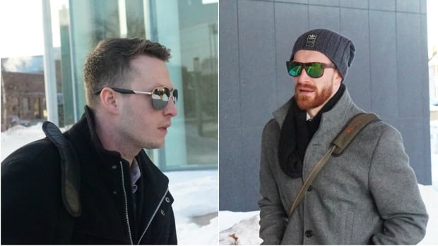 Former University of Ottawa Gee-Gees hockey players Guillaume Donovan, left, and David Foucher, right, are attending their trial for sexual assault in Thunder Bay.