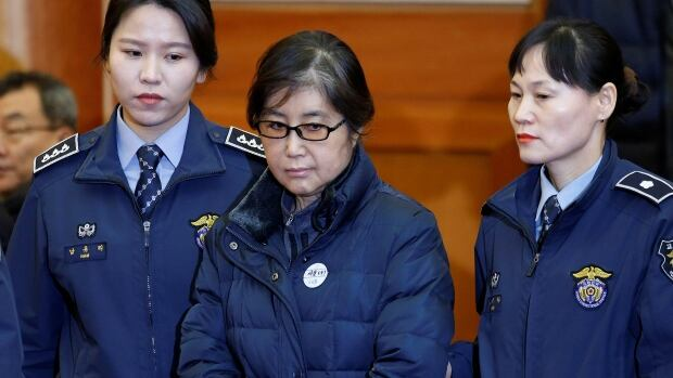 Choi Soon-sil is shown at a court hearing in Seoul on Jan. 16. Prosecutors had asked for a 25-year sentence.