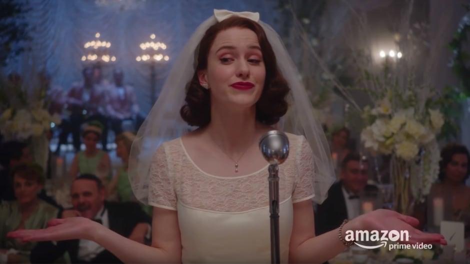 "Rachel Brosnahan plays Miriam ""Midge"" Maisel int the Amazon series The Marvelous Mrs. Maisel."