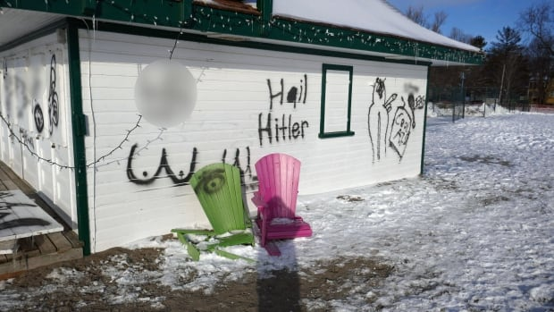 The Leuty Lifeguard Station in the Beach was defaced with racist graffiti.