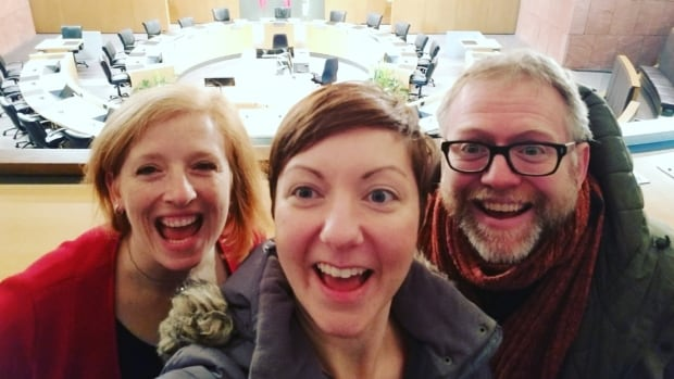Counc. Sarah Marsh, director Carin Lowerison and producer Matt White of Green Light Arts say they're excited to bring The Vagina Monologues to an unconventional venue: Kitchener city hall.