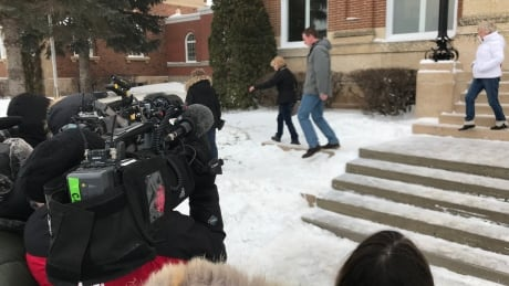 Camera in front of Battleford Court of Queen's Bench courthouse during Stanley trial