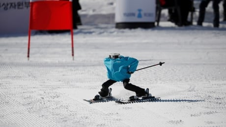 Watch robot skiers race down snowy slopes