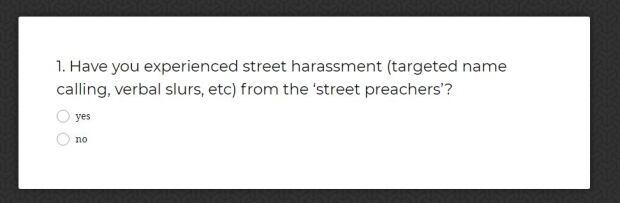 Street preachers survey