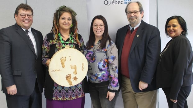 Quebec Minister of Indigenous Affairs Geoff Kelley, second from right, was in Val-d'Or Monday to announce the funding for Mikizi. Guy Bourgeois, the MNA for Abitibi-Est, left, and counsellors Sakia Wabie, Isabelle Dostie and Meela Mykoo.