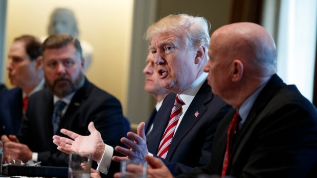 President Donald Trump allowed cameras into a meeting with lawmakers about trade policy in the Cabinet Room of the White House. Such meetings are usually held behind closed doors.