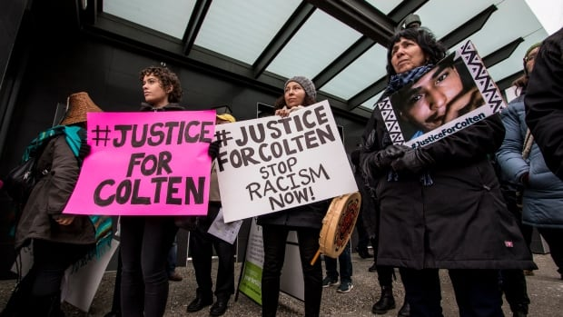 One of dozens of rally's in support of Colten Boushie's family took place across the country, this one in Vancouver.