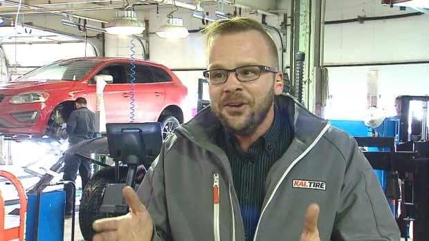 Jimmy Waugh with Kal Tire says most of the vehicles booked for work this week are suspension or alignment problems.