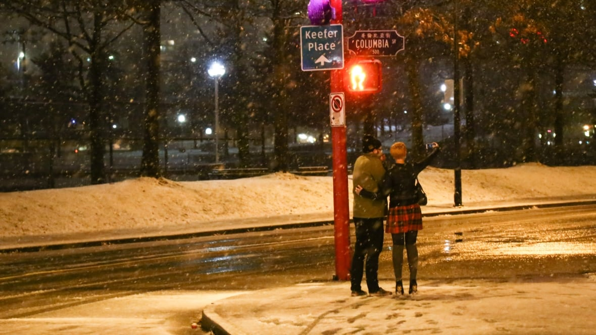 Snowfall hits Metro Vancouver overnight amid weather warning