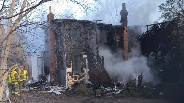 This home on Otterbury Road in Coley's Point was destroyed by fire Wednesday morning.